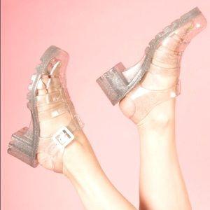 "JUJU jellies helped clear glitter ""babe"" sandals"